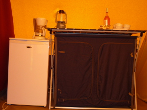 Rental tent cupboard and fridge